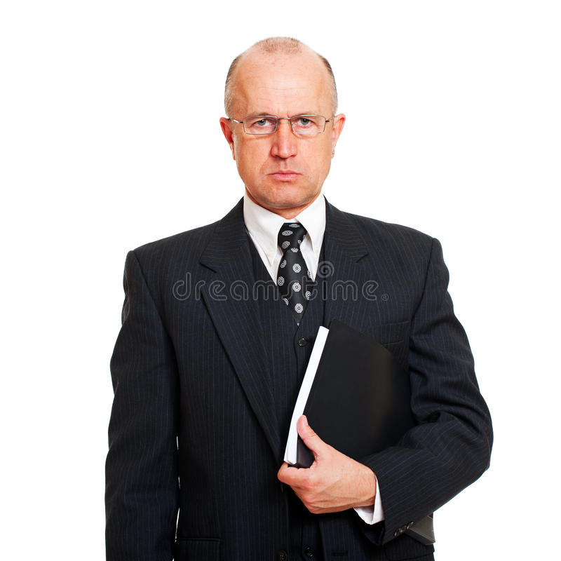 Homme sérieux d'affaires avec des documents photos libres de droits