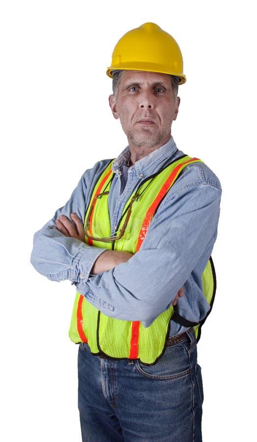 Homme sérieux de travailleur de la construction des syndicats d'isolement photos stock