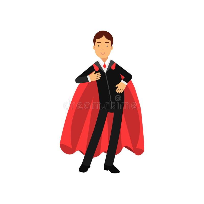 Homme sûr d'affaires avec le manteau de super héros Personnage masculin de sourire portant le costume noir formel avec le lien ro illustration de vecteur