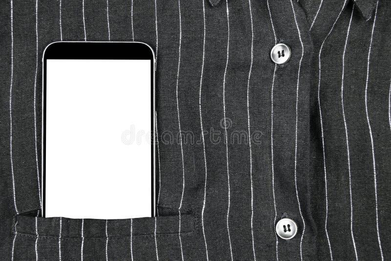 Homme sûr d'affaires de plan rapproché portant le costume et le téléphone portable élégant, le smartphone avec l'écran blanc et l photos stock
