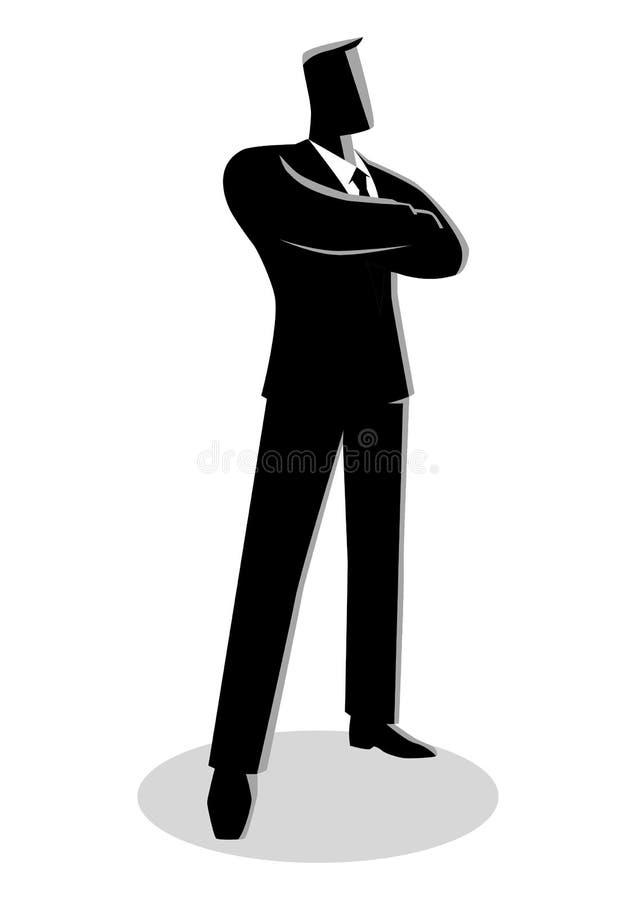 Homme sûr d'affaires se tenant avec les bras pliés illustration libre de droits