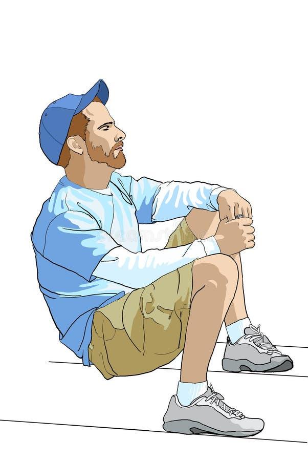 Homme s'asseyant illustration de vecteur