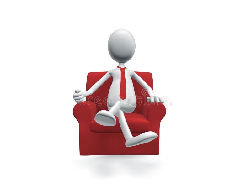 Homme s'asseyant dans la chaise illustration libre de droits
