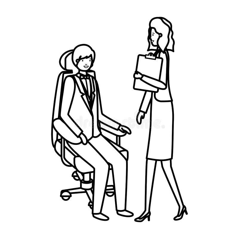 Homme s'asseyant dans la position de chaise et de femme de bureau illustration libre de droits