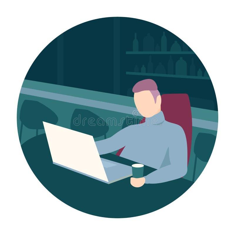 Homme s'asseyant dans une barre illustration de vecteur