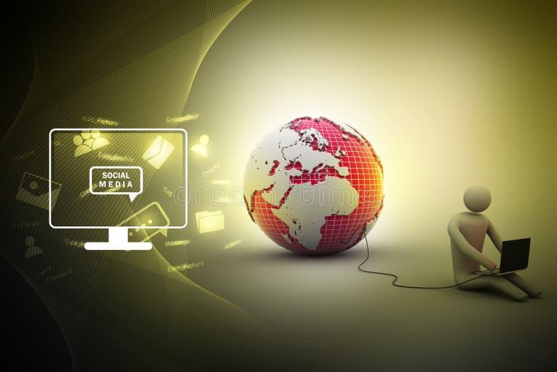 Homme s'asseyant près du globe avec l'ordinateur portable illustration stock