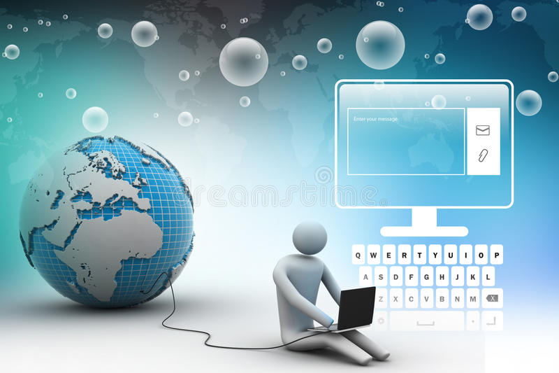 Homme s'asseyant près du globe avec l'ordinateur portable illustration de vecteur