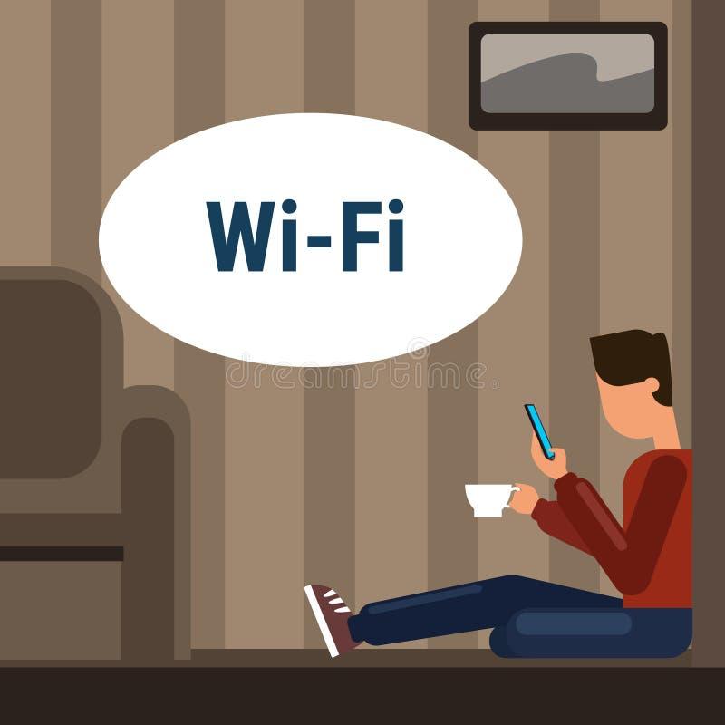 Homme s'asseyant sur l'Internet futé de téléphone de cellules d'utilisation de plancher à la maison par la connexion en ligne san illustration de vecteur