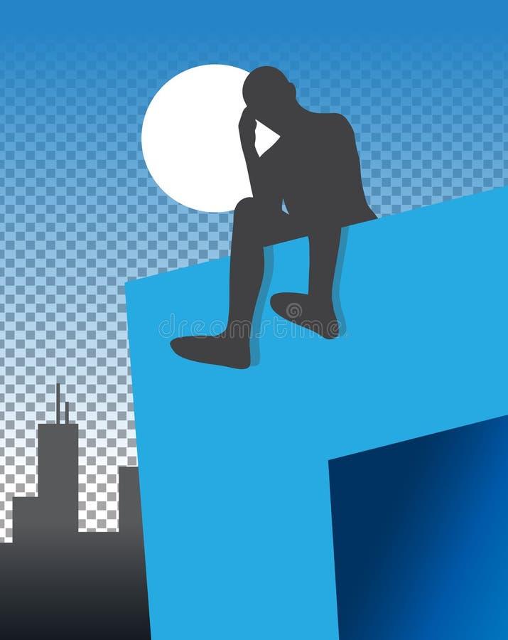 Homme s'asseyant sur la saillie à l'illustration de nuit illustration de vecteur