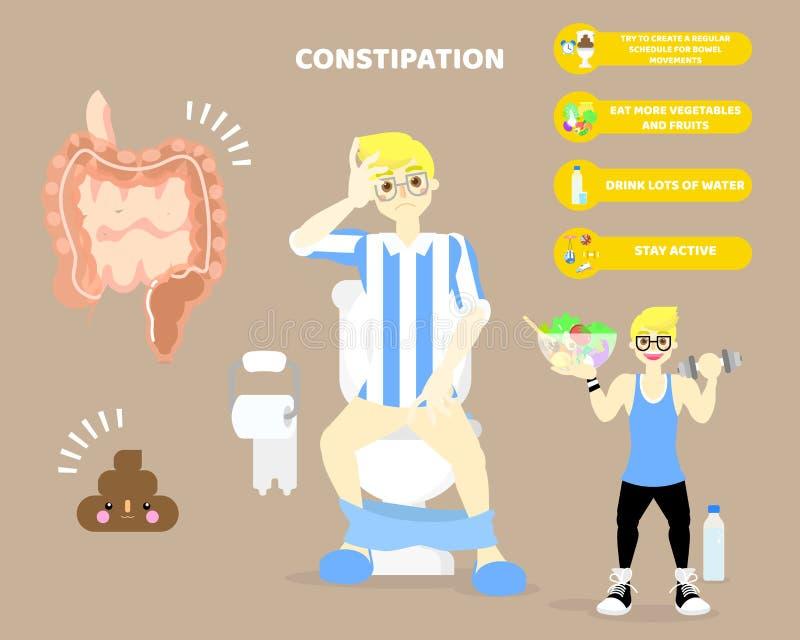homme s'asseyant sur la toilette avec la constipation, grand et intestin grêle, partie du corps d'organes internes, soins de sant illustration de vecteur