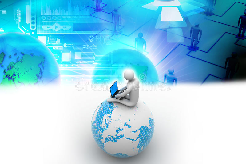 Homme s'asseyant sur le globe avec l'ordinateur portable illustration libre de droits