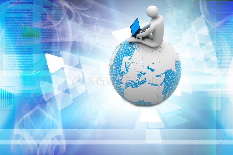 Homme s'asseyant sur le globe avec l'ordinateur portable illustration stock