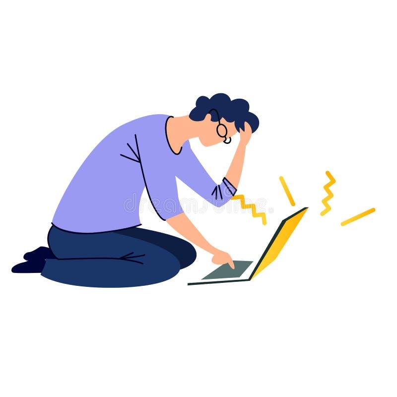 Homme s'asseyant sur le plancher et dactylographiant sur l'ordinateur portable illustration stock