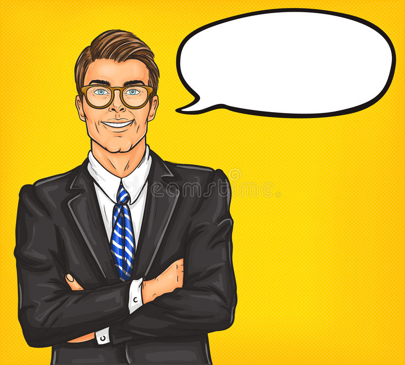 Homme sûr d'art de bruit en costume et verres illustration libre de droits