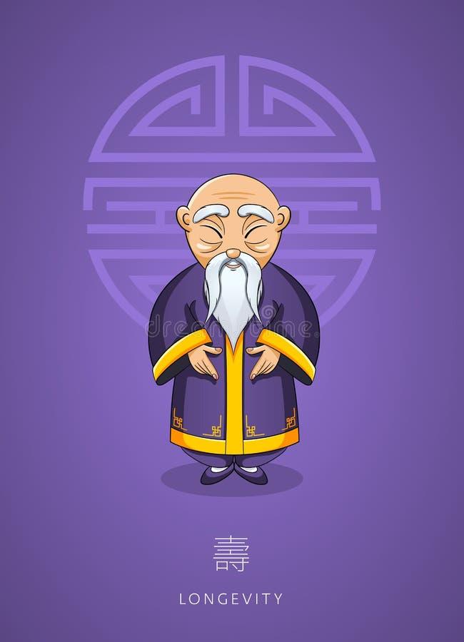 Homme sage asiatique tiré par la main de bande dessinée vieil dans des vêtements traditionnels illustration de vecteur