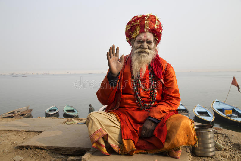 Homme saint Varanasi photographie stock