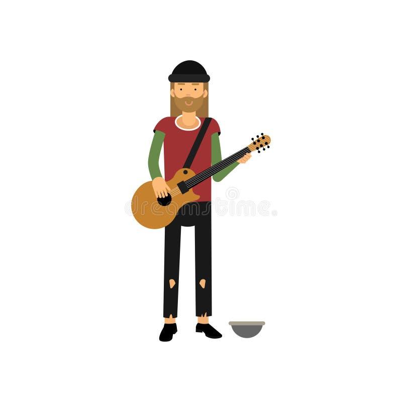 Homme sans abri jouant la guitare sur la rue, personne du chômage ayant besoin pour l'illustration de vecteur de bande dessinée d illustration de vecteur