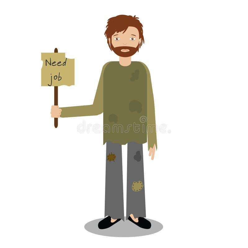 Homme sans abri priant pour le travail Illustration de vecteur illustration libre de droits
