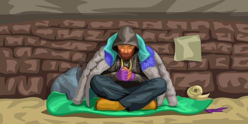 Homme sans abri s'asseyant au mur illustration stock
