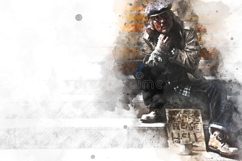 Homme sans abri sur la rue de passage couvert dans la capitale illustration stock