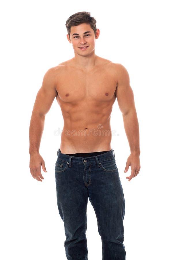 Homme sans chemise attirant image libre de droits
