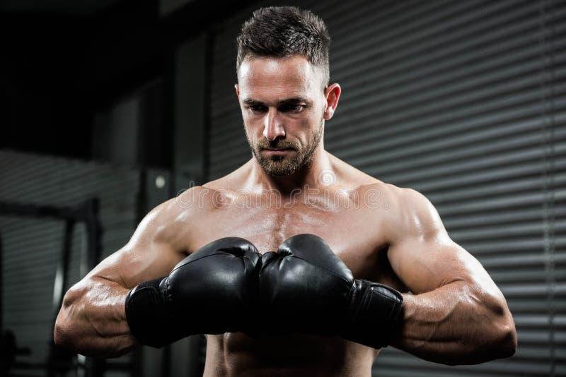 Homme sans chemise fâché avec des gants de boxe photos libres de droits