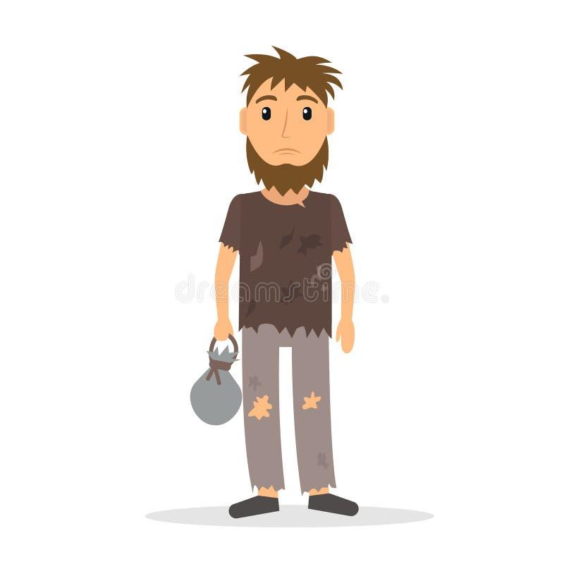 Homme sans emploi sans abri dans le style plat illustration libre de droits