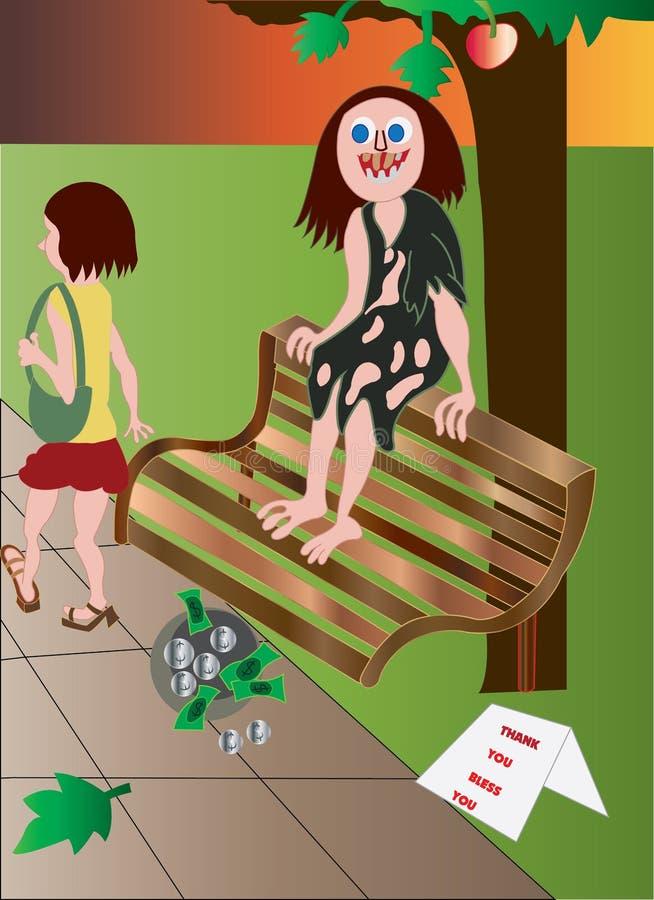 Homme sans foyer illustration stock