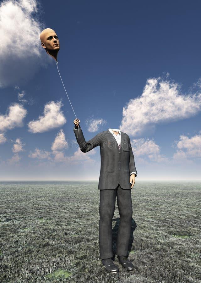 Homme sans tête avec la tête de flottement illustration libre de droits