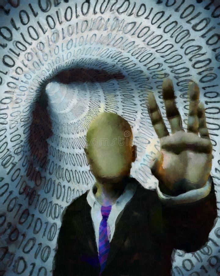 Homme sans visage dans le tunnel du code binaire illustration stock
