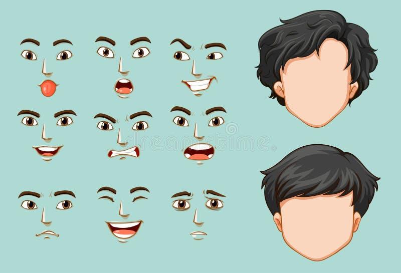 Homme sans visage et différents visages avec des émotions illustration stock