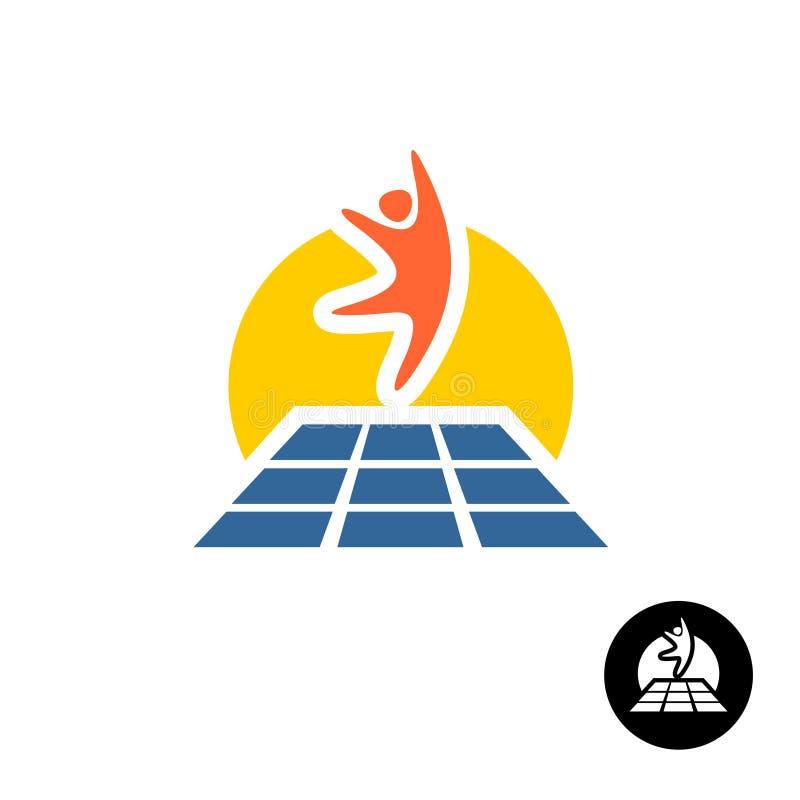 Homme sautant heureux avec le symbole de trempoline Logo de parc de trempoline illustration libre de droits