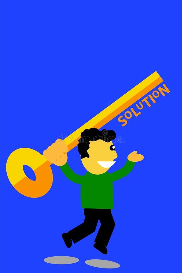 Homme sautant tenant une clé, illustration pour trouver la solution illustration de vecteur