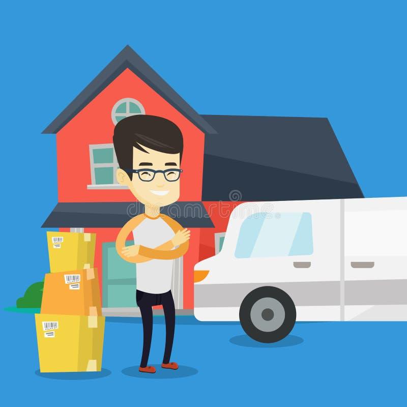Homme se déplaçant à l'illustration de vecteur de maison illustration de vecteur