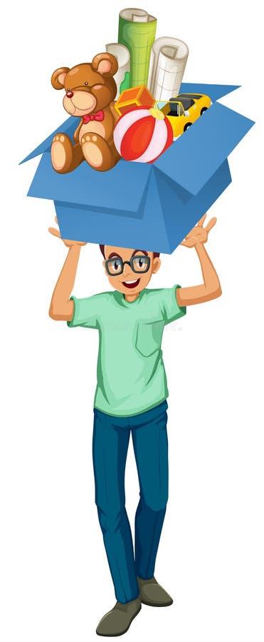 Homme se soulevant vers le haut de la boîte de jouets illustration de vecteur