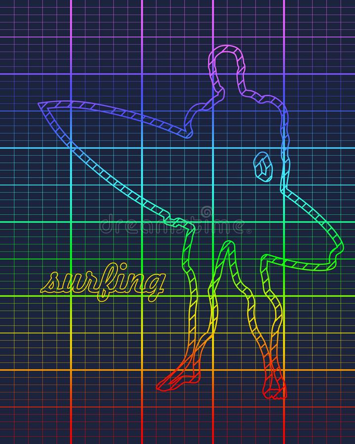 Homme se tenant avec la planche de surf illustration de vecteur