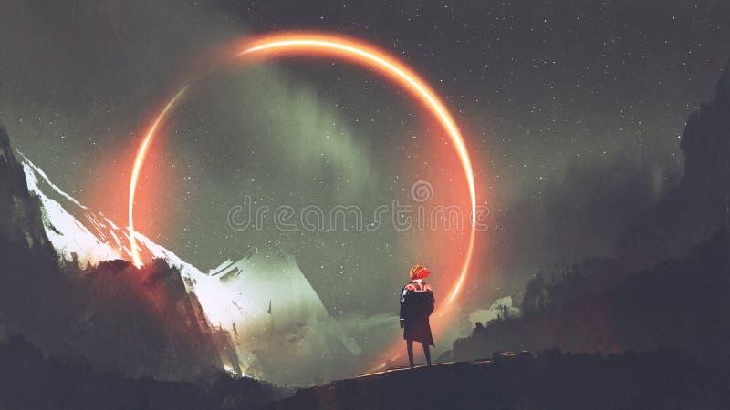 Homme se tenant devant le cercle de lumière rouge illustration stock