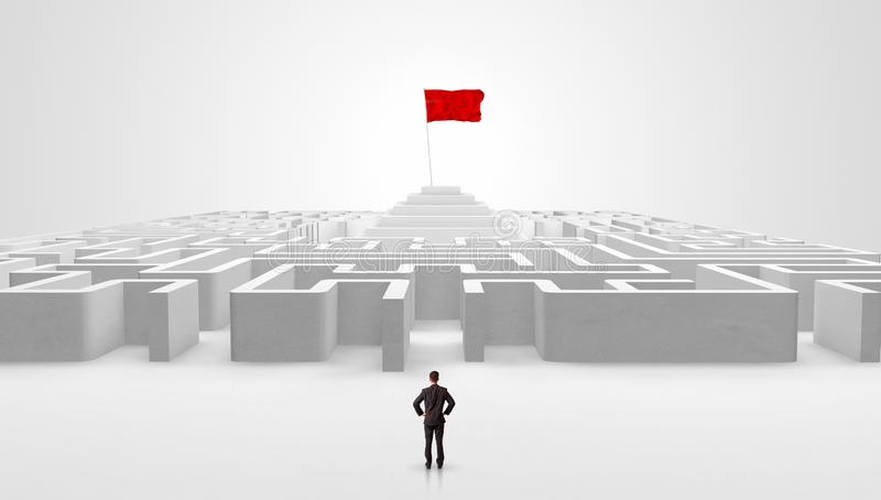 Homme se tenant en dehors d'un labyrinthe avec le drapeau de pirate illustration de vecteur
