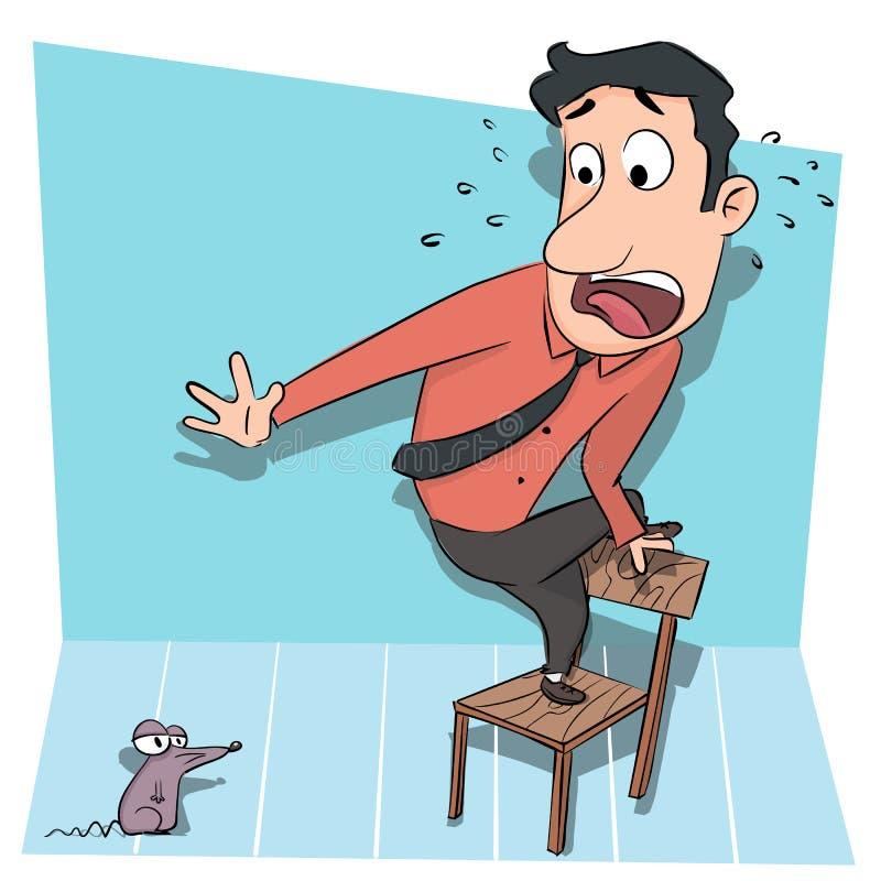 Homme se tenant sur la chaise effrayée du rat illustration de vecteur