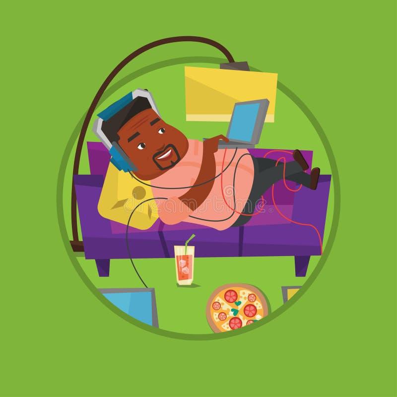 Homme se trouvant sur le sofa avec beaucoup d'instruments illustration stock