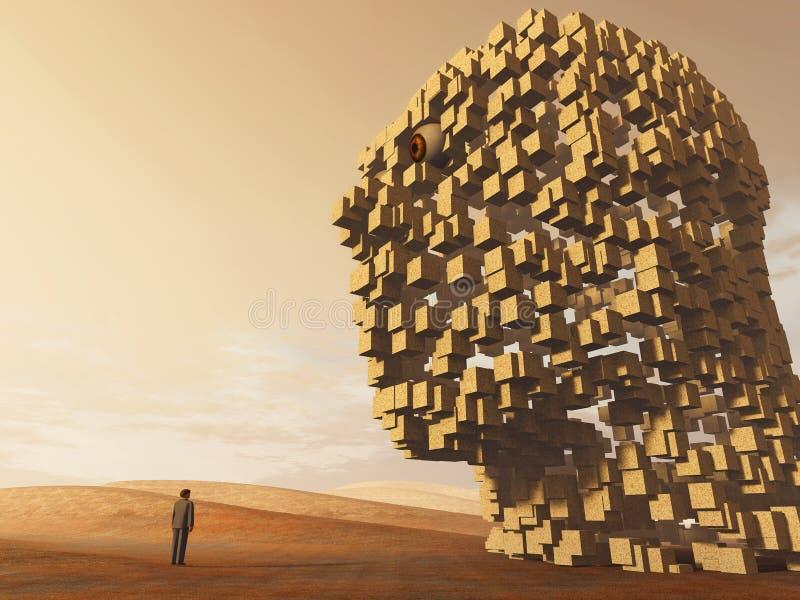 Homme seul restant avant grande tête en pierre illustration libre de droits