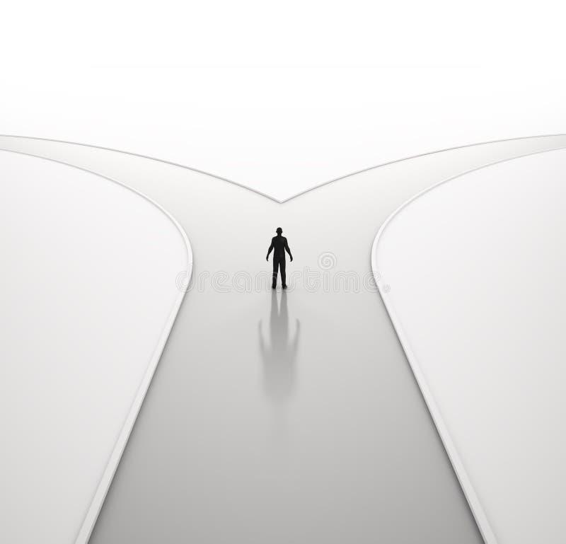 Homme seul sur un carrefour illustration stock