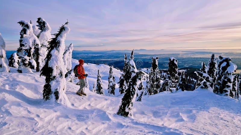 Homme snowshoeing en montagnes avec la belle vue image libre de droits