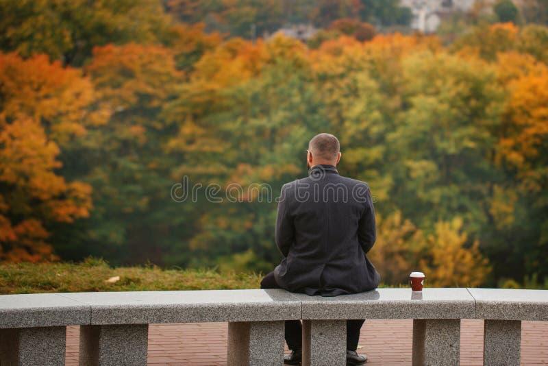Homme solitaire s'asseyant sur le banc en pierre et regardant la nature dos photographie stock libre de droits