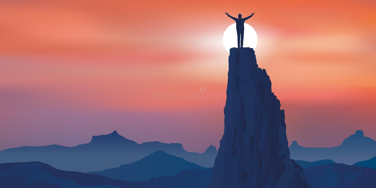 Concept of success with a man having achieved his goal by arriving at the top of a mountain. stock illustration