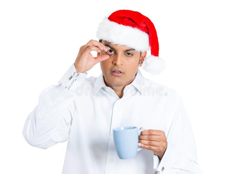 Homme somnolent de Noël images stock