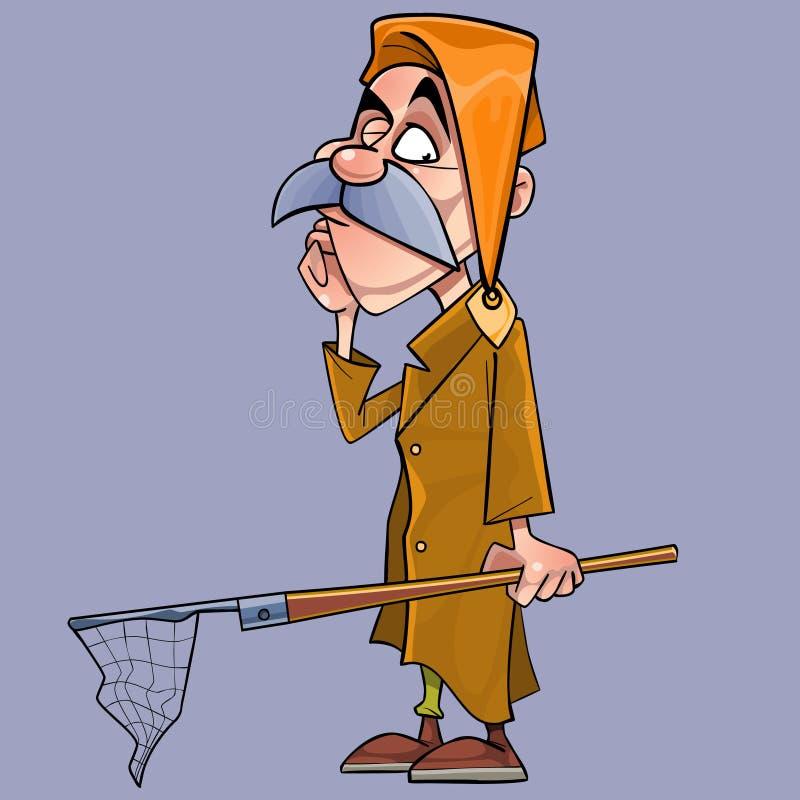Homme songeur de bande dessinée dans un bonnet de nuit avec un filet dans sa main illustration stock