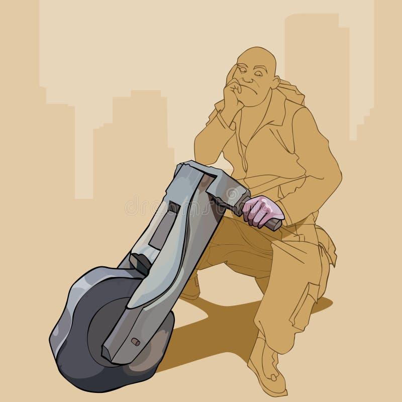 Homme songeur de bande dessinée s'asseyant sur une moto en bois illustration stock