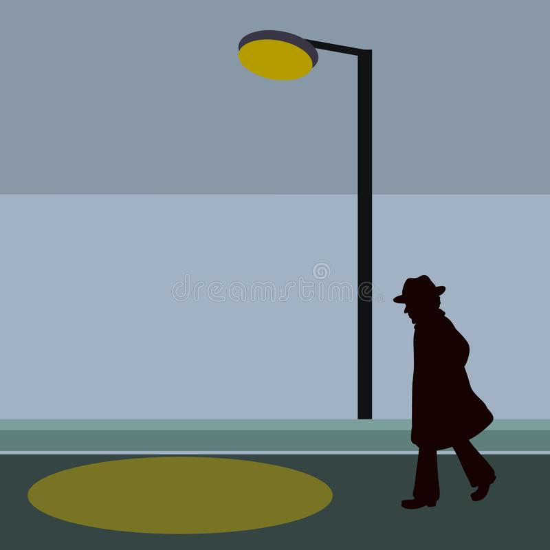 Homme songeur marchant le long d'une rue sombre, approchant la lumière d'une lanterne illustration libre de droits