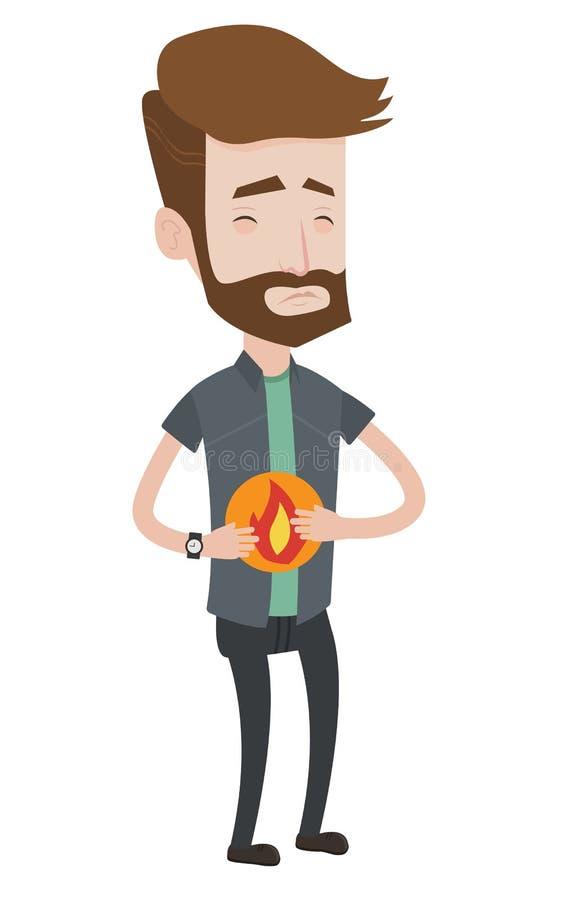 Homme souffrant de l'illustration de vecteur de brûlure d'estomac illustration de vecteur